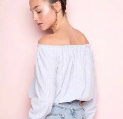 3e2671babf3 Brandy Melville Blue Striped Cropped off shoulder ruffle trimmed Maura Top  S/M
