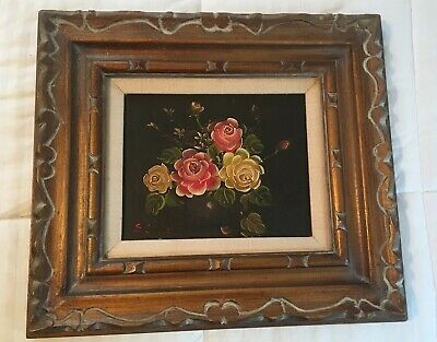 Vintage Floral Oil Painting On Canvas Flowers Still Life Wood Frame