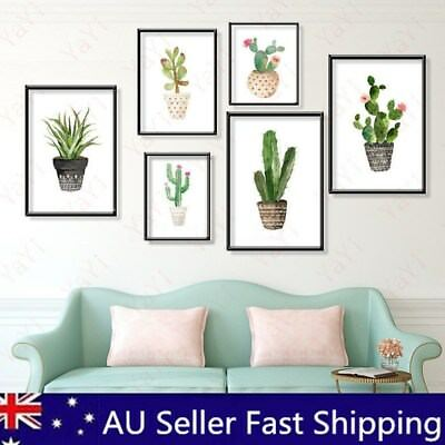 40x50cm Unframed Watercolor Cactus Canvas Painting Print Picture Home Wall Decor