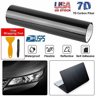 7D Premium Super Gloss Carbon Fiber Vinyl Film Wrap Bubble Free Air Release 6D *
