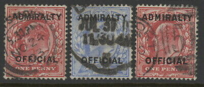 GB O73, O76 & O79 used w/Admiralty Official overprint & crown wm & pmks - Ed VII