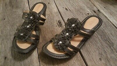 96626030a882 Born Black Sandals Strappy Leather Platform Wedge Womens Size 6   36.5  W31892