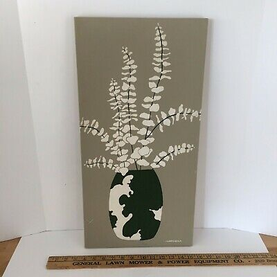 Marushka Floral Vase Screen print / signed mid century wall art 1970s Vintage