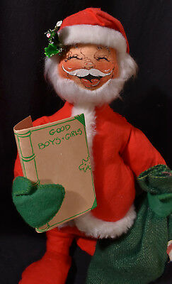 Annalee Mobilitee Posable Christmas SANTA with Toy Sack & Good / NICE LIST 1971