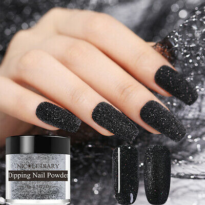 NICOLE DIARY Black Glitter Matte Dipping Powder Acrylic Tips Nail Art DIY ND-D05