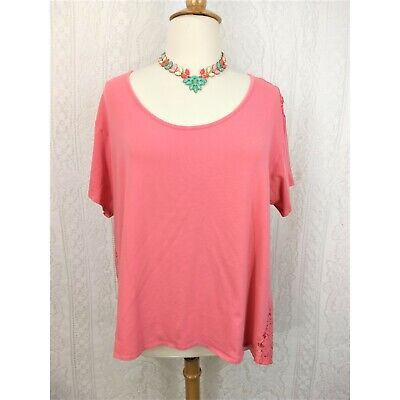 62711f382e1fb JCP Boutique Womens T-shirt Plus Size 3X Pink Salmon Lace Back Short Sleeve