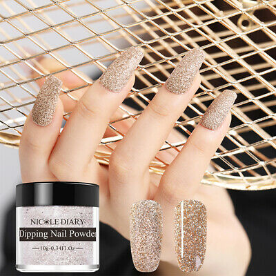 10ml NICOLE DIARY Gold Glitter Matte Dipping Powder Acrylic Tips Nail Art ND-D03