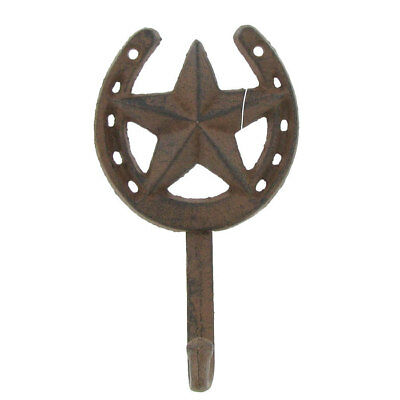 Rustic Cast Iron Horseshoe Star Hook Western Home Accent FREE SHIPPING
