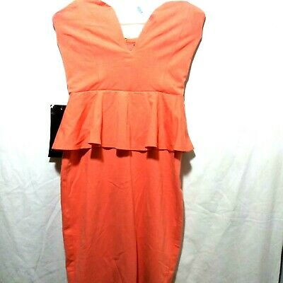 Bebe Women Pink Coral Peach Gown Classic Front Arching Dress Size S - 2O