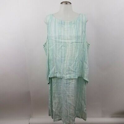 04d20ec5b8 Pure J Jill Dress XL Linen Stripe Green Blue Lagenlook Layer Blouson  Sleeveless