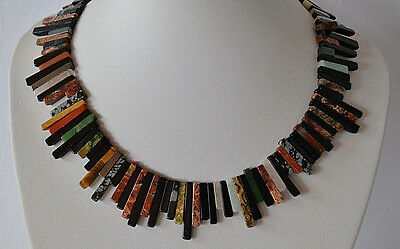Egyptian revival hand carved all gemstone torque necklace turquoise jade jasper
