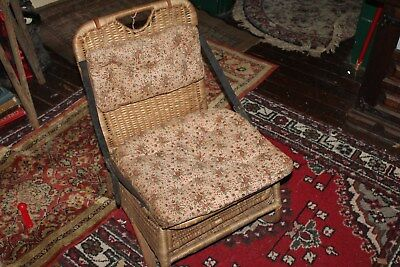 Antique Wicker Rattan Canoe Seats Chairs Adirondack With Cushions (1 of 2)