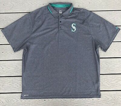 4445c5d4 Nike Dri Fit Seattle Mariners Polo Shirt Mens 3XL Gray Authentic Collection  MLB