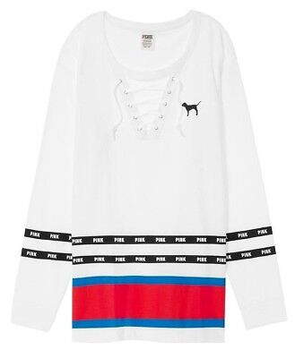 4f13a0ad9e9fe VICTORIA'S SECRET PINK White Dog Logo Lace Up Campus Long sleeve Tee ...