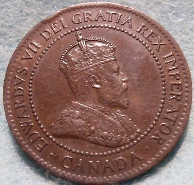 1904 AU/Unc CANADA LARGE CENT Edward VII COIN NoRes CANADIAN High Grade!--<