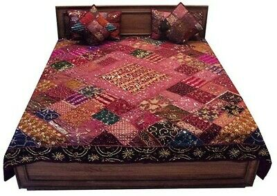5 Pc Hand Embroidered Décor Beaded Sari Throw Coverlet Bedspread Quilt Blanket