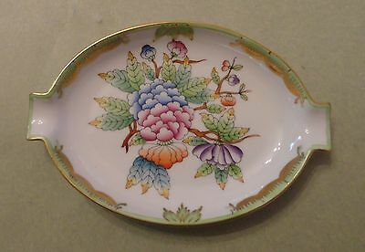 HEREND China QUEEN VICTORIA GREEN BORDER Vintage Porcelain PEONY Flower ASHTRAY