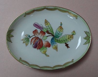 HEREND China VBO QUEEN VICTORIA GREEN Vintage Porcelain PEONY BUTTER PAT TRAY