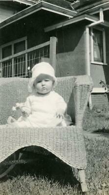 BT531 Vintage Photo BABY HOLDING FLOWER, WICKER CHAIR FRONT YARD  Early 1900's