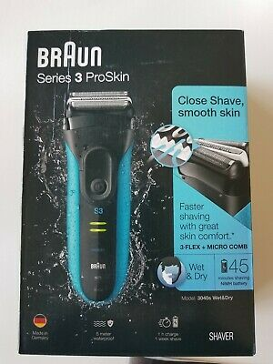 NEW Open Box Braun Series 3 ProSkin 3040S Wet & Dry Electric Shaver for Men
