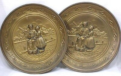 Vintage Pair Round Brass Wall Plaques Hangings Embossed Dutch Children Windmills