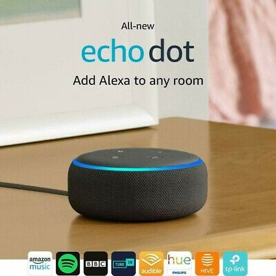 Amazon Echo Dot (3rd Gen) Smart speaker with Alexa - Charcoal Black - New UK !!