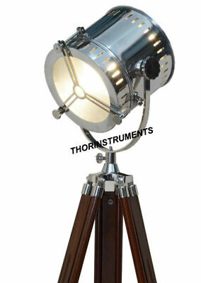 Nautical Collectible Spot Light Floor Lamp With Brown Wooden Tripod Home Decor
