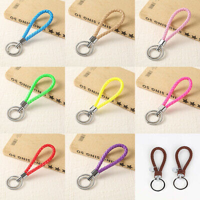 Two Circle Multi-Color Leather Rope Strap Weave Key Ring Chain KeyFob Accessory