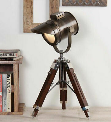 NAUTICAL COLLECTIBLE SEARCHLIGHT SPOT LIGHT STUDIO TABLE LAMP TRIPOD STAND gift