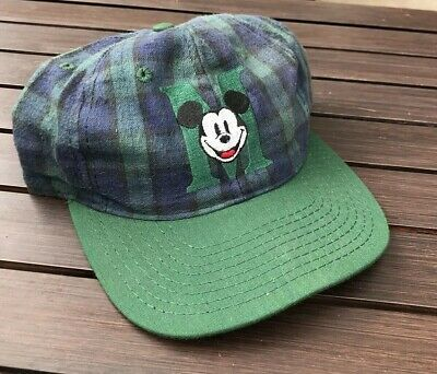 b7171d59 VINTAGE 90'S MICKEY Mouse Hat Baseball Cap Green Blue Plaid Snapback ...