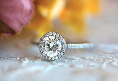 Certified 1.72Ct Round Cut White Diamond In 14K White Gold Halo Engagement Ring