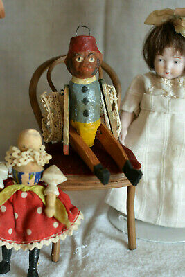 Antique Dresden Christmas Ornament Monkey Doll Toy Animal Jointed Wood Limbs