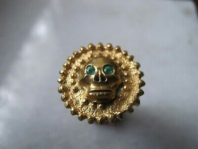 Antique Late Medieval Silver Gold Plated Skull Memento Mori Poison Box Ring