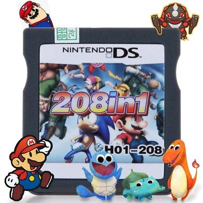 208 IN 1 Game Cartridge for Nintendo NDS NDSL 3DS 3DSLL/XL NDSI Pokemon Mario