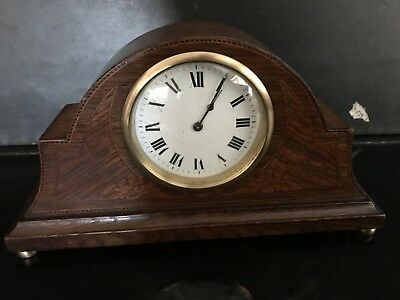 Edwardian Oak With Inlays Mantel Clock