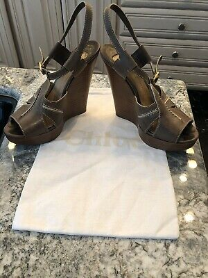 b46ab5640d Chloe High Wedge Sandals Size 38 Brown With White Stitching, Ankle Strap