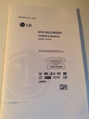 LG DR1F9H Super Multi DVD Recorder / Player owner manual operating booklet