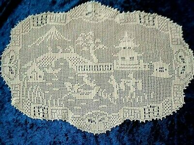 Antique MARY CARD Design Filet Hand Crochet~'Oriental' 1934 Willow Large Centre