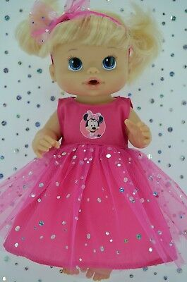 """Play n Wear Doll Clothes To Fit 13"""" Baby Alive HOT PINK SEQUIN DRESS~HEADBAND"""