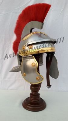 Centurion Medieval Roman War Costume Helmet W/Red Plume & Fitted Leather Liner
