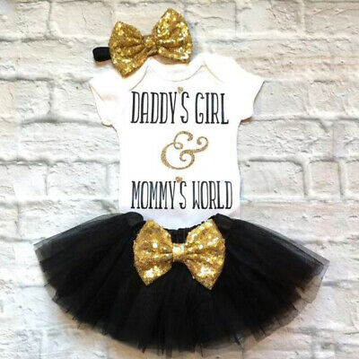 cb6d656b59b Newborn Baby Girls Clothes Daddy s Girl Mommy s World Romper Skirt 3PCS  Outfits