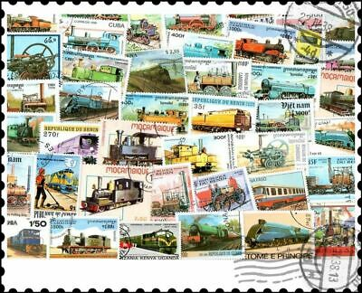 Locomotives Trains : 50 Different Stamps Collection