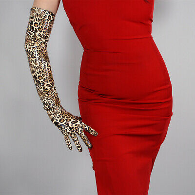 "LATEX LONG GLOVES Shine Leather PU 24"" 60cm Animal Print Brown Cheetah Leopard"