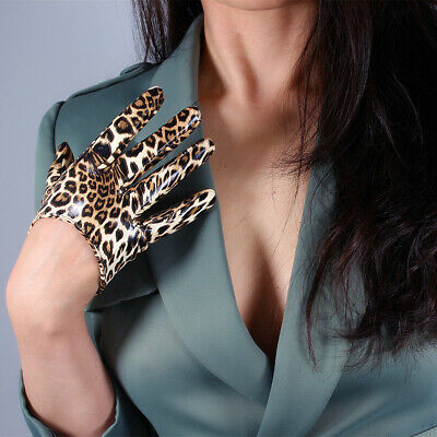 "LATEX SHORT GLOVES Shine Leather PU 5"" 13cm Animal Print Brown Cheetah Leopard"