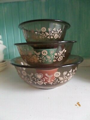pyrex/corning usa smoke brown glass friendship nesting bowls x 3