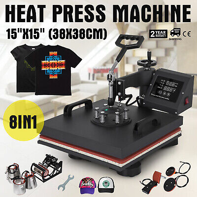 """8IN1 Combo T-Shirt Heat Press Transfer 15""""x15"""" Printing 1000W Sublimation NEWEST"""