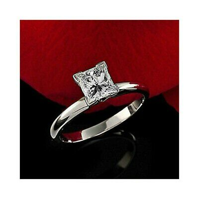 Certified 1.25Ct Princess White Diamond 14K White Gold Solitaire Engagement Ring