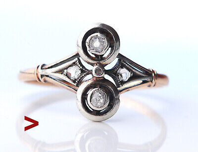 Antique Russian Ring solid 14K Rose Gold Silver Diamonds Ø US8.75/ 1.9gr