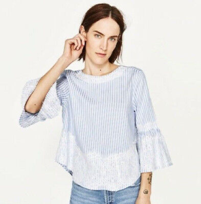 6fe730cee36cb7 Zara Womens Blouse Blue White Stripe Bell Sleeve Lace Top Shirt Size Small S