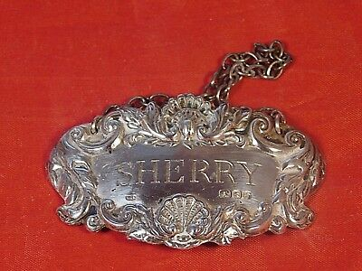 Vintage Sterling Silver Sherry Decanter Hanging Tag Richards & Knight London
